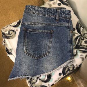 Cute distressed denim shorts